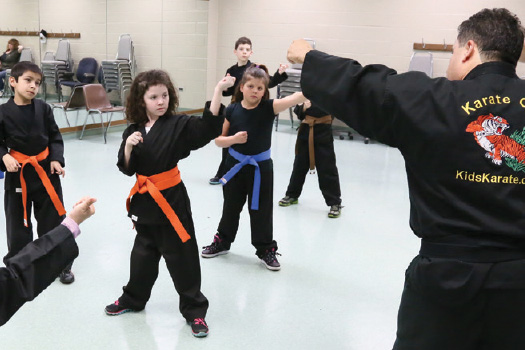 Children learning karate.